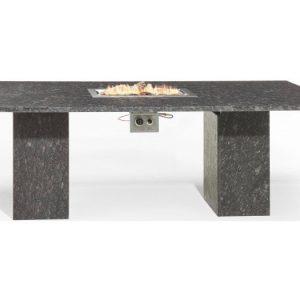 Vulcano dining tuintafel 220x100xH75 cm vuurtafel pearl black satinado