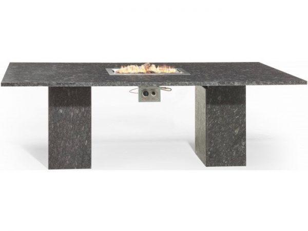 Vulcano dining tuintafel 240x100xH75 cm vuurtafel pearl black satinado