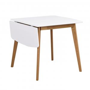 Nordiq Olivia klaffbord - Houten uitklaptafel - 80 cm - Wit - Eiken onderstel - Uitklapbaar