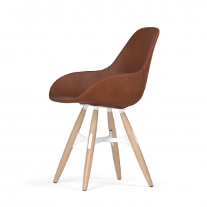 Kubikoff ZigZag stoel - Dimple POP shell - Leer - Wit met eiken onderstel -