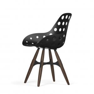 Kubikoff ZigZag stoel - Dimple holes - Walnoten onderstel - Zwarte eetkamerstoel - Kunststof kuip