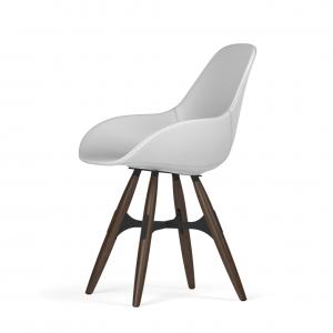 Kubikoff ZigZag stoel - Dimple POP shell - Kunstleer - Zwart met walnoten onderstel -