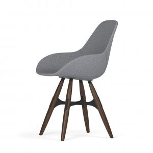 Kubikoff ZigZag stoel - Dimple POP shell - Stof - Zwart met walnoten onderstel -