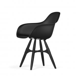 Kubikoff ZigZag stoel - V9 Armshell - Zwart met zwarthout onderstel -