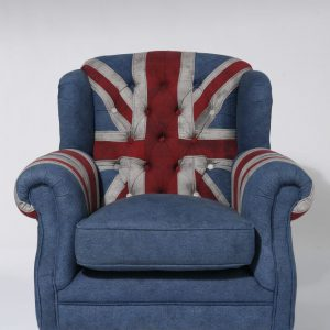 KARE Fauteuil Grandfather Union Jack Blauw