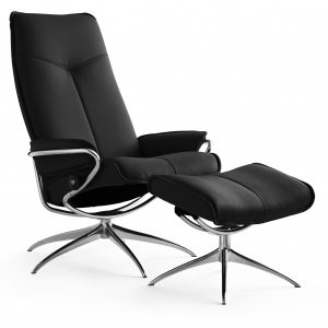 Stressless Draaifauteuil + Hocker City Black