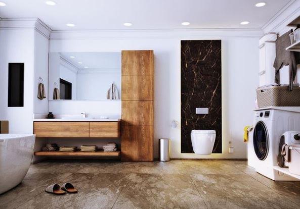 Badkamer met houten wastafel