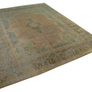 vintage vloerkleed zandkleur met blauw 379cm x 286cm