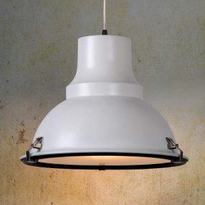 Witte hanglamp FACTORY, industrieel design