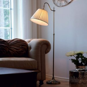 Antieke vloerlamp Charleston, oud-messing