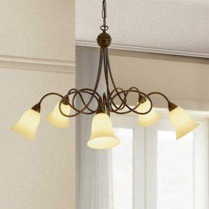 5-lichts landhuis-hanglamp Michele