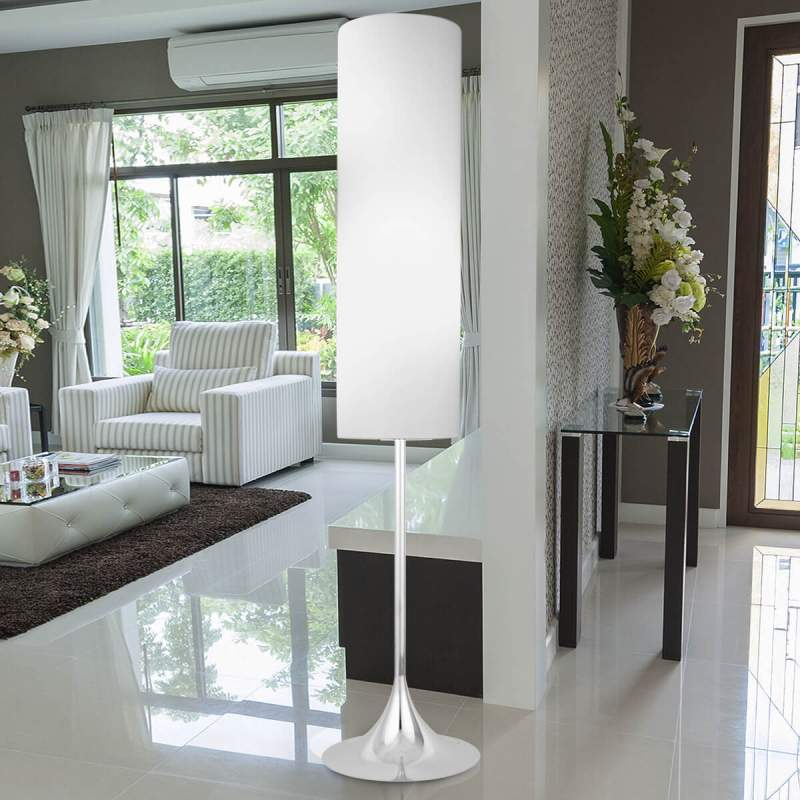 Textiele vloerlamp Flute in wit chroom