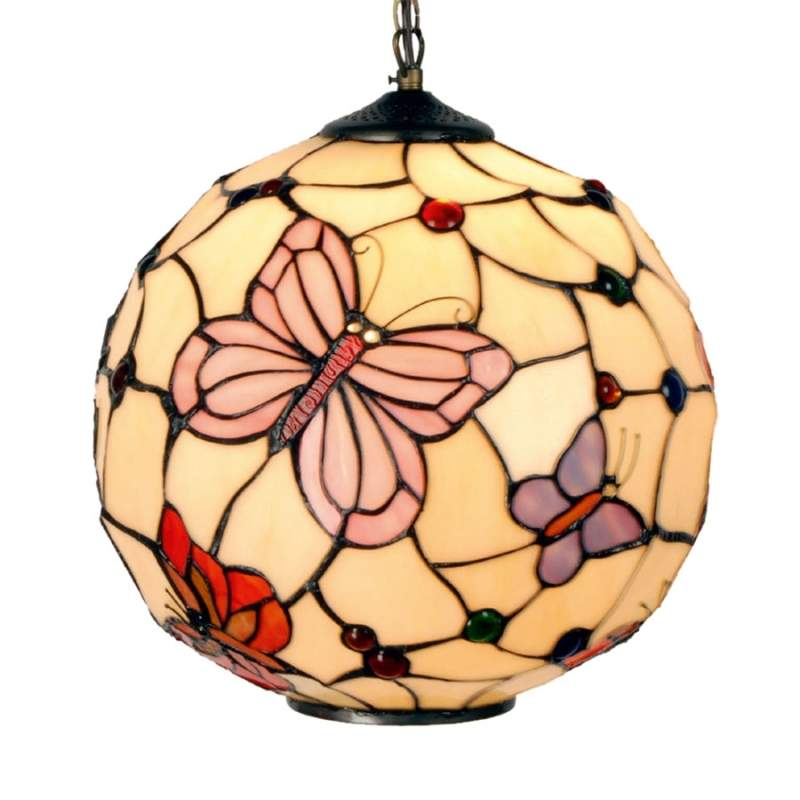 Hanglamp Rosy Butterfly in Tiffany-stijl