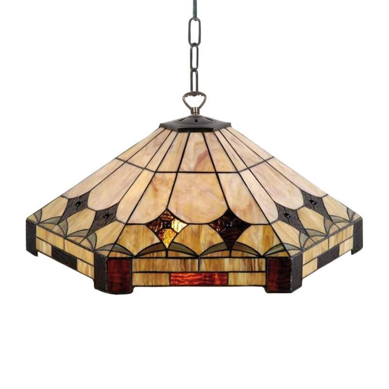Zeshoekige hanglamp Aiofe in Tiffany-ontwerp