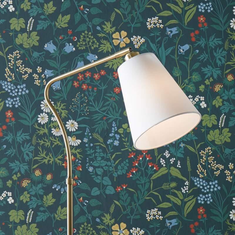 Moderne stoffen vloerlamp Tindra met flexibele arm
