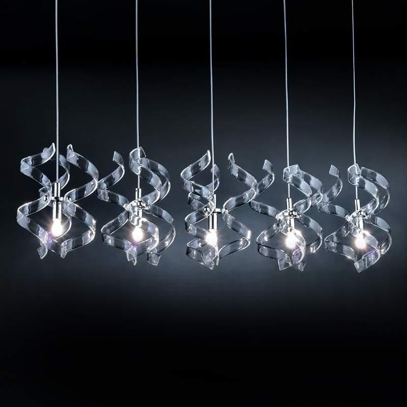 Sierlijke hanglamp Silver, 5-lichts