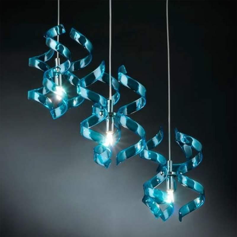 Fascinerende hanglamp Blue, 3-lichts