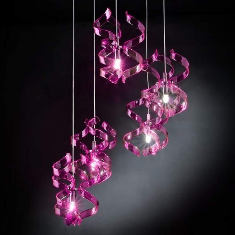 Asymmetrische hanglamp Magenta, 3-lichts