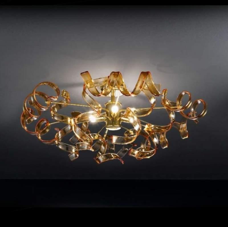 Amberkleurige plafondlamp Amber, diameter 60 cm