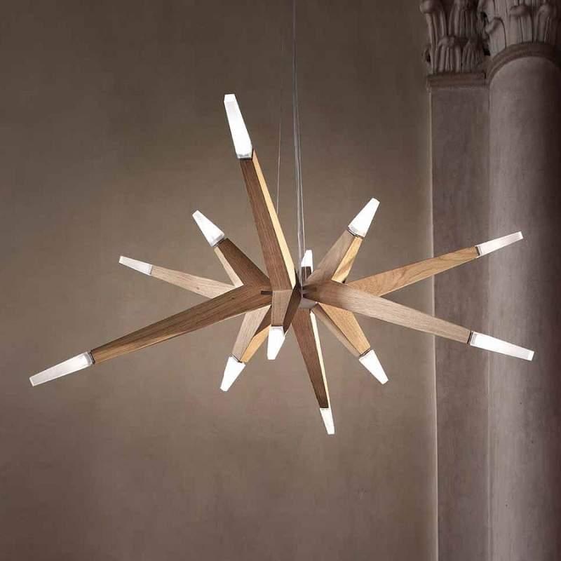 Moderne eiken hanglamp Flashwood, 140 cm