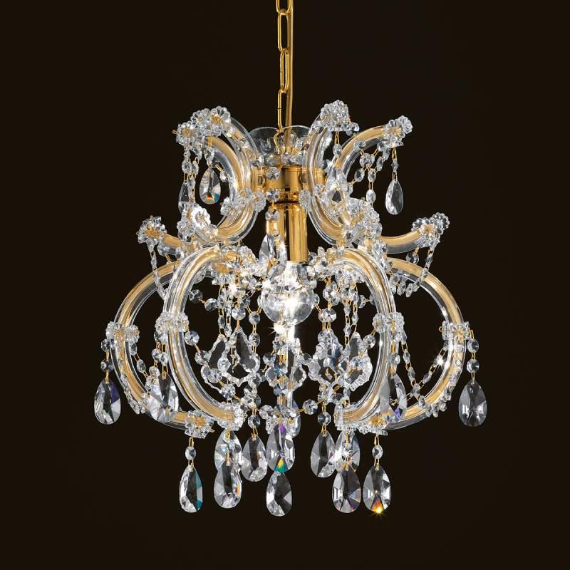 Gebogen kristallen hanglamp Deira