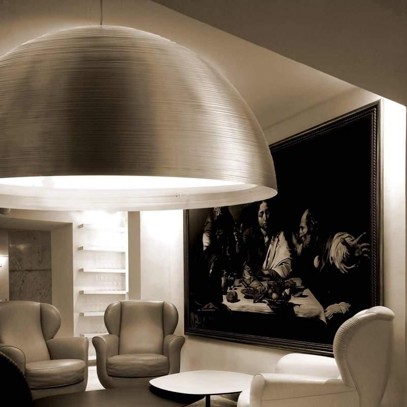 Hanglamp Pandora, halve bol, 72 cm, aluminium