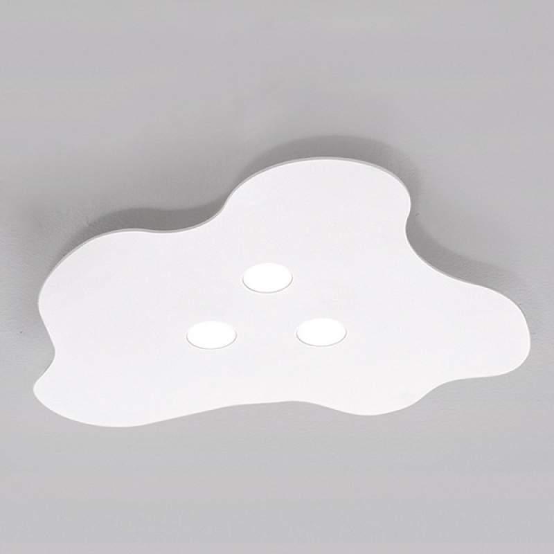 3-lichts LED-plafondlamp Nubes, wit