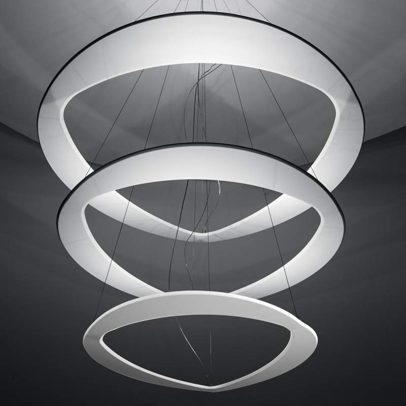 Witte design hanglamp Diadema met leds