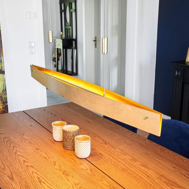 Edele LED-hanglamp Malu in klassiek goud, 119 cm