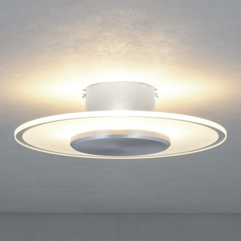 Glazen plafondlamp Dora met deels gesatineerde kap