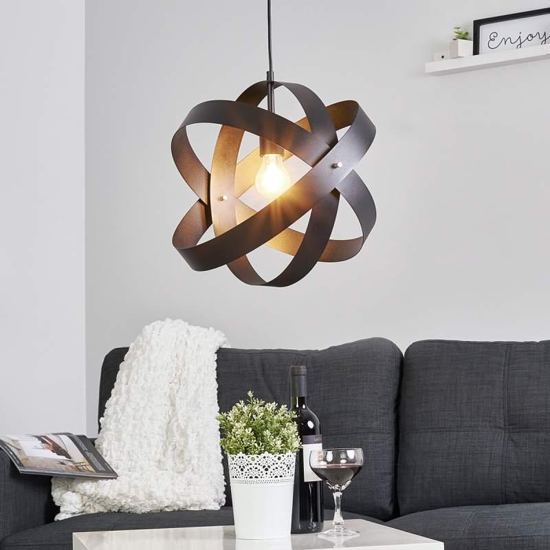 Zwarte LED-pendellamp Cara met drie ringen