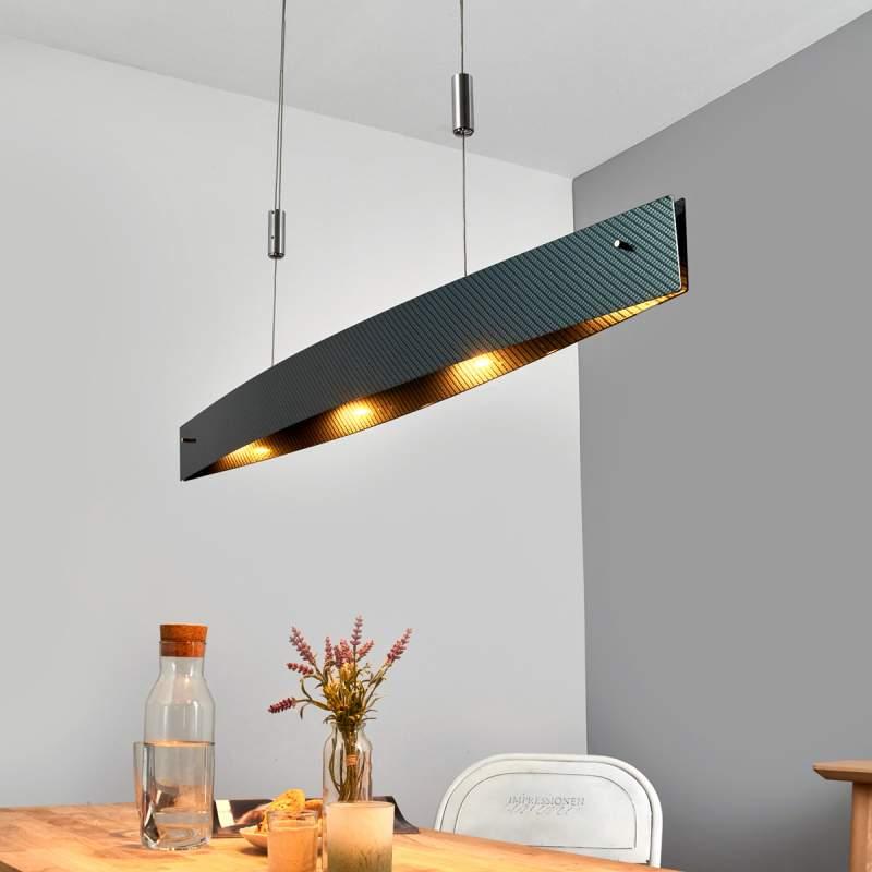 In carbon motief - dimbare LED hanglamp Malu