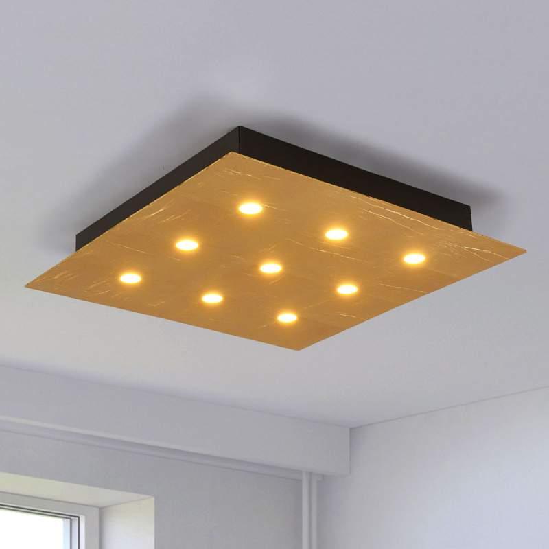 Heldere LED plafondlamp Juri met gouden afwerking