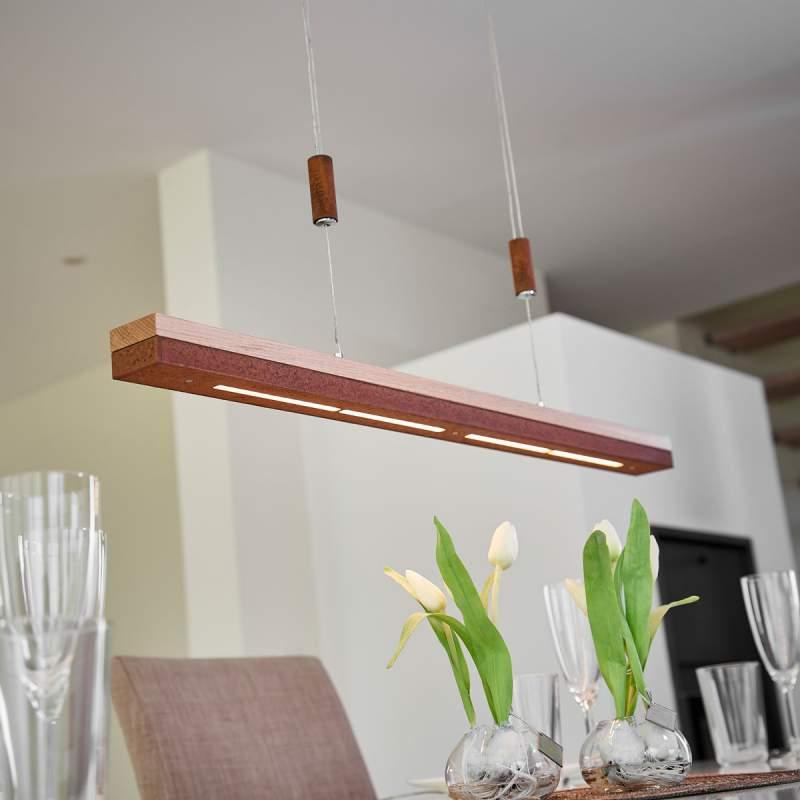 Roest en massief hout - led hanglamp Elna, 78 cm