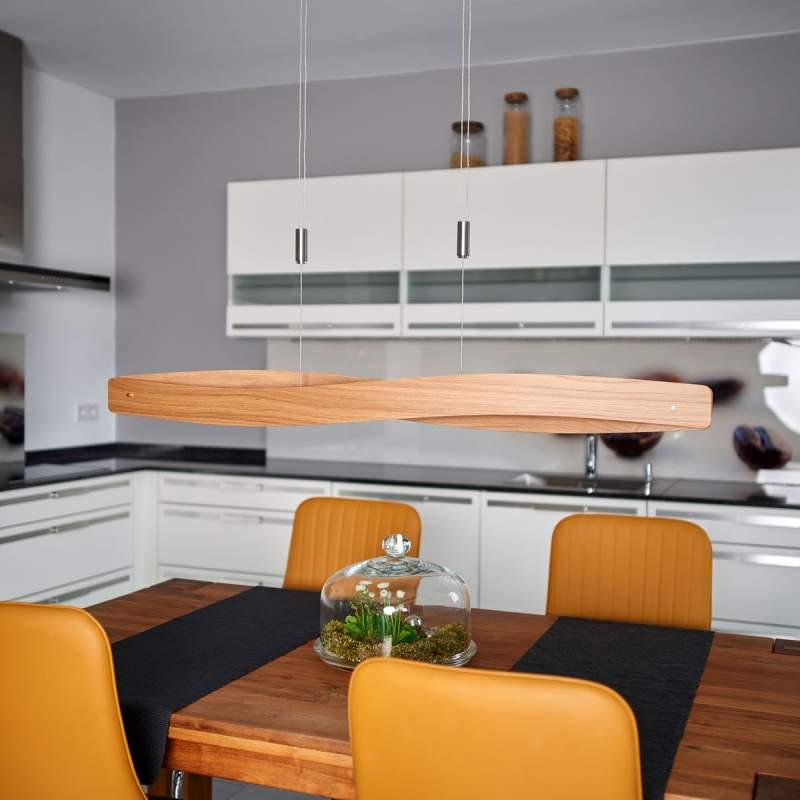Met eikenhout uitgeruste led hanglamp Lian