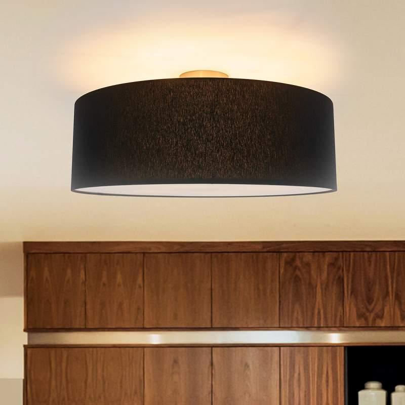 Mat zwarte stoffen LED plafondlamp Gala
