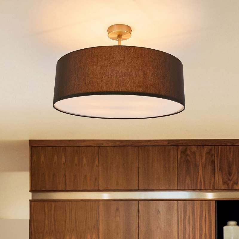 Ronde LED textiel-plafondlamp Gala, grafietgrijs