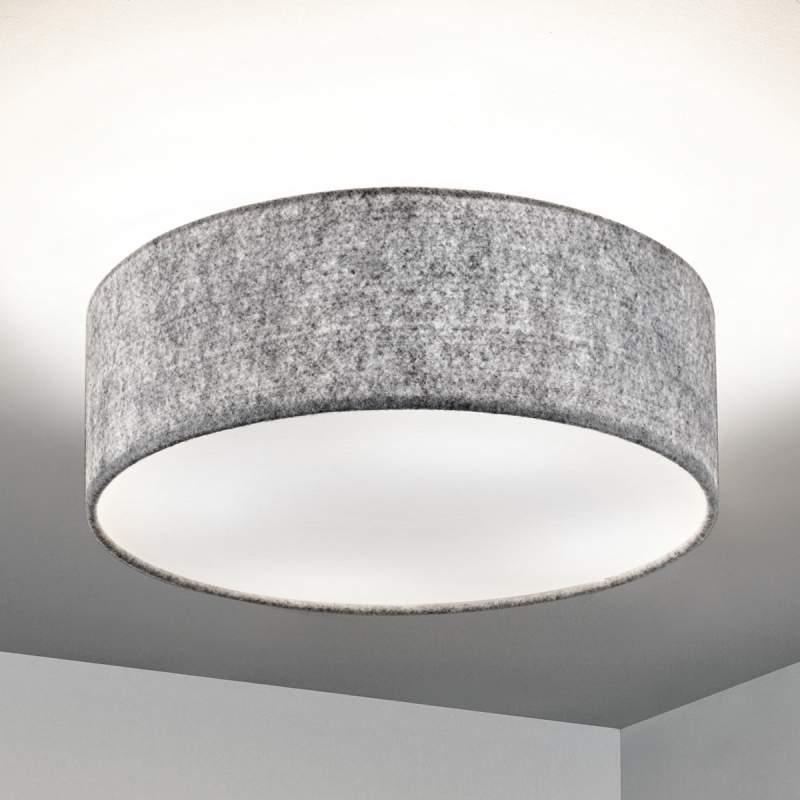 Lichtgrijze vilt-plafondlamp Gala in ronde vorm