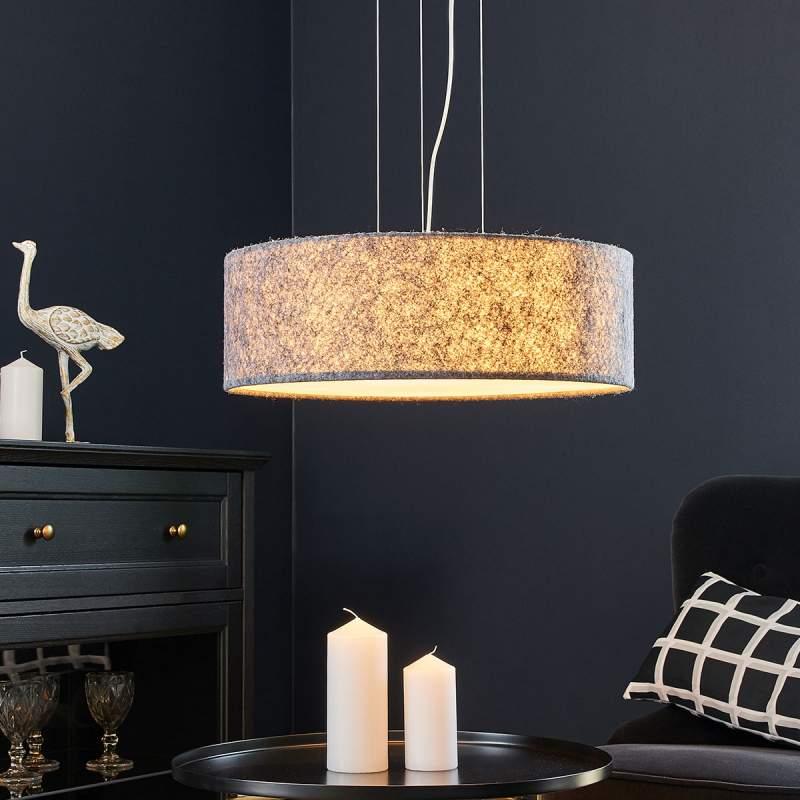 Stoffen hanglamp Gala van lichtgrijs vilt