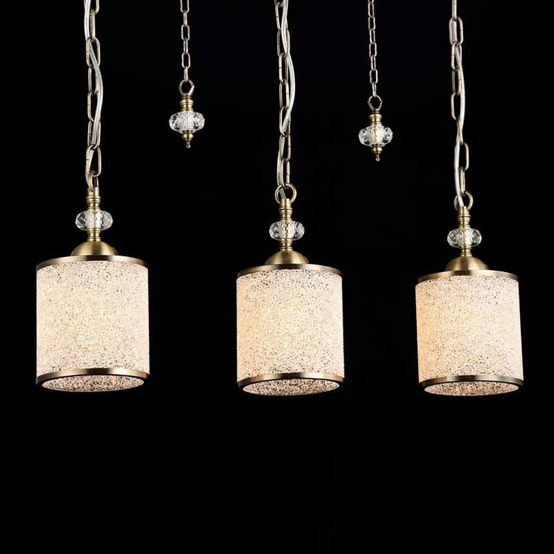 Antiek gouden hanglamp Sherbon - 3-lichts