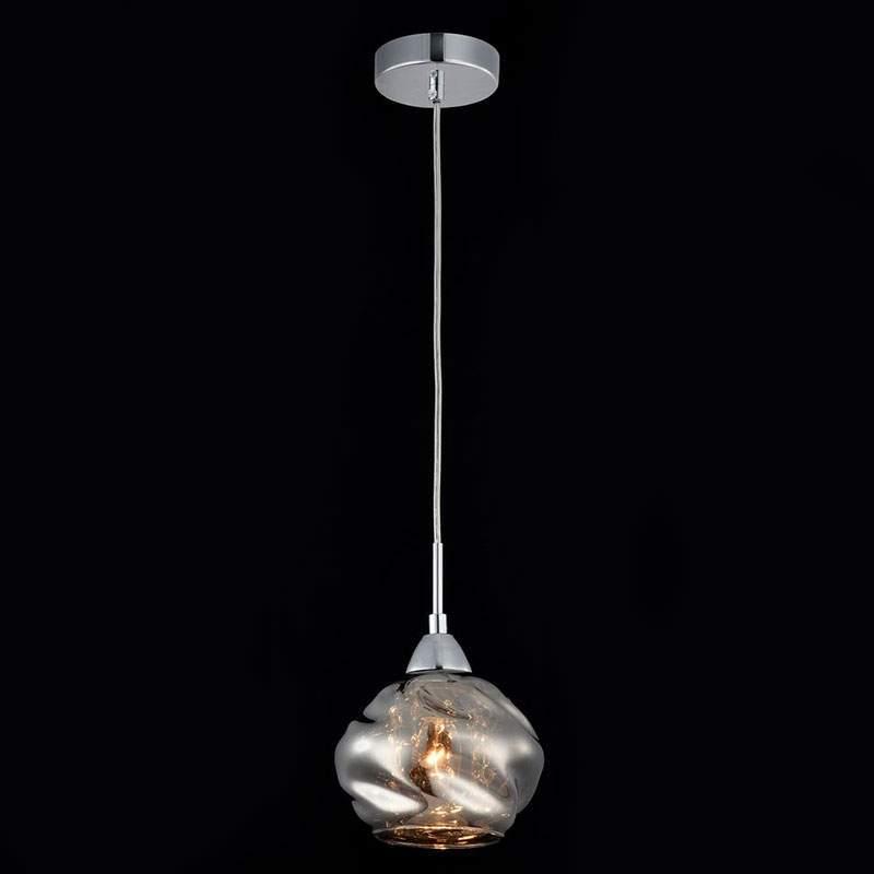 Rookgrijze glazen hanglamp Haze met kristallen