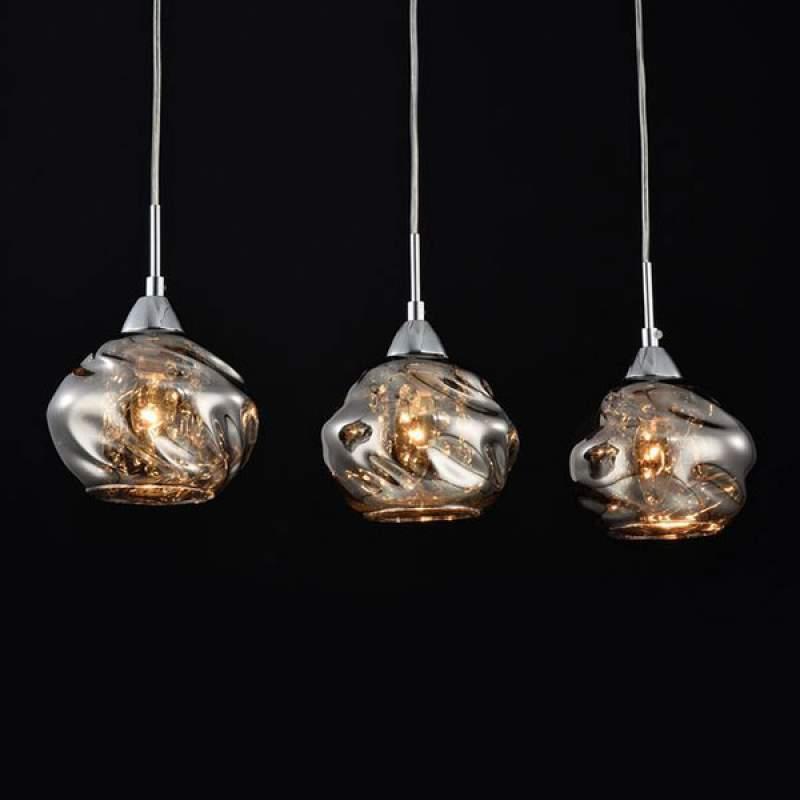 3-lamps - glazen hanglamp Haze met kristallen