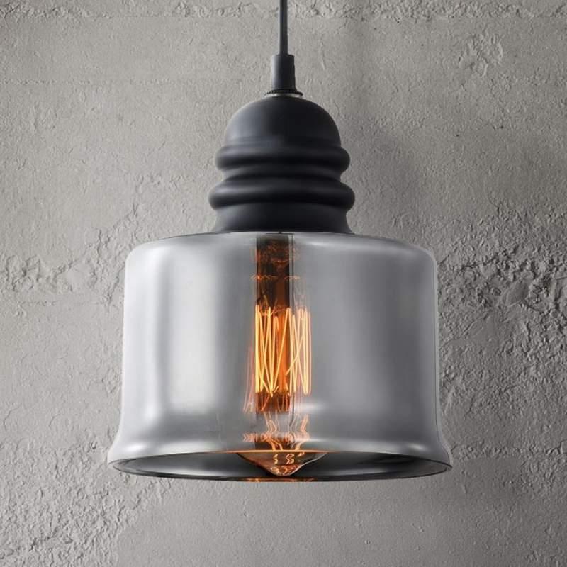 Met rookgrijze glazen kap - hanglamp Danas