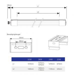 Noxion LED Montagebalk Extrusion 130cm 4000K 36W | Vervangt 2x36W