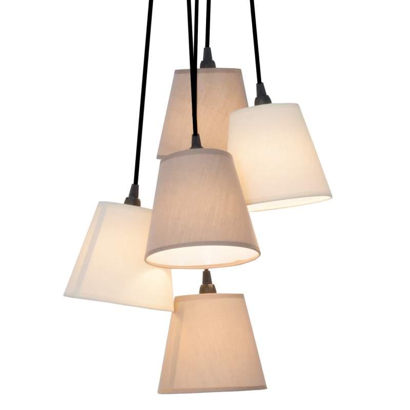 Twiddle - stoffen hanglamp met vijf kappen