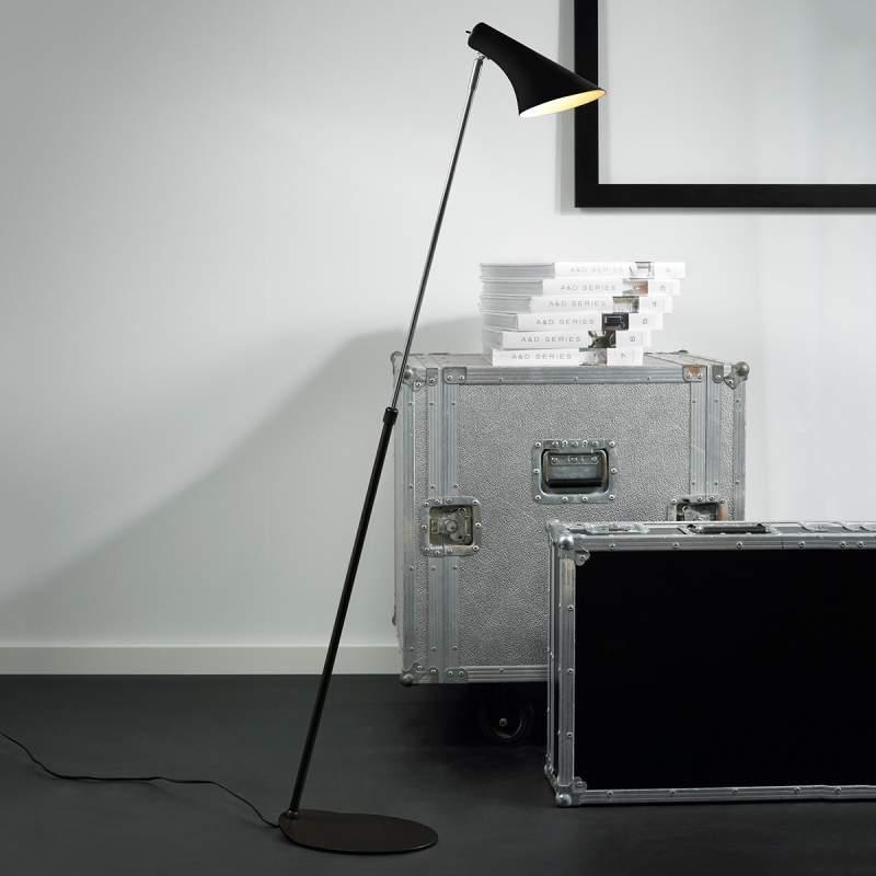 Elegante flexibele vloerlamp Liam, zwart