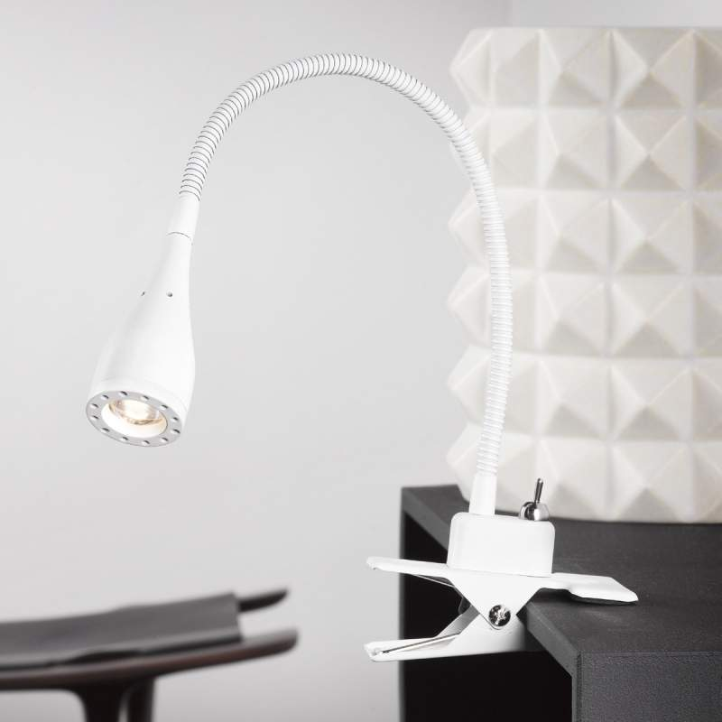 Buigbare led-klemlamp Mento, wit