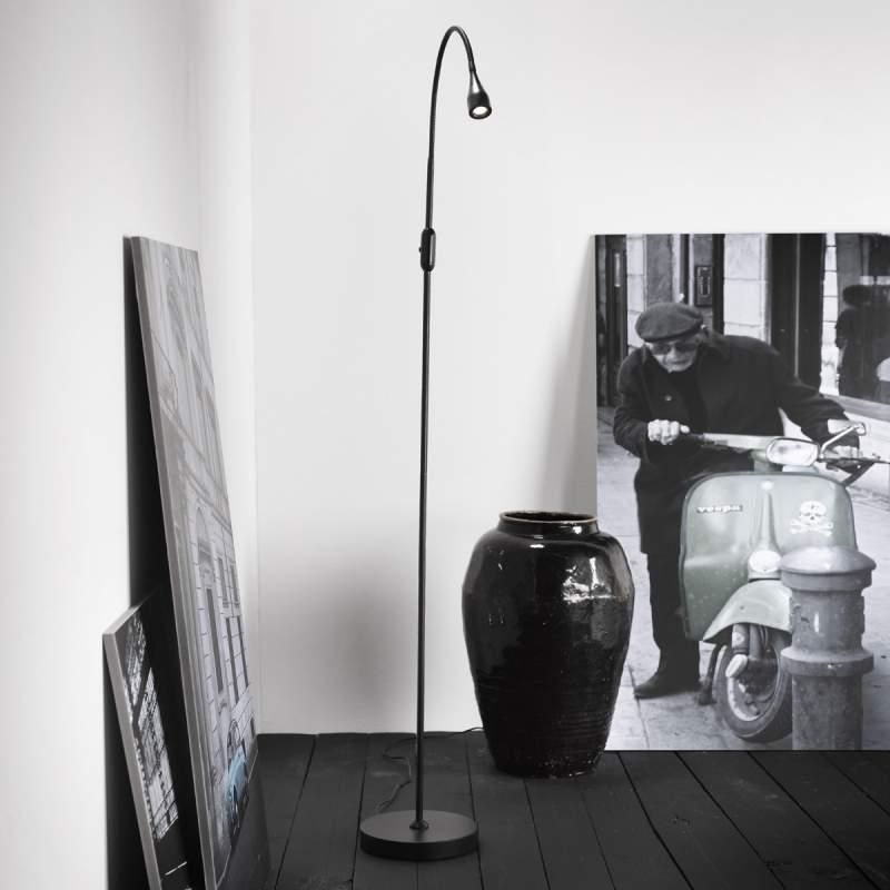 Verstelbare led-vloerlamp Mento, zwart