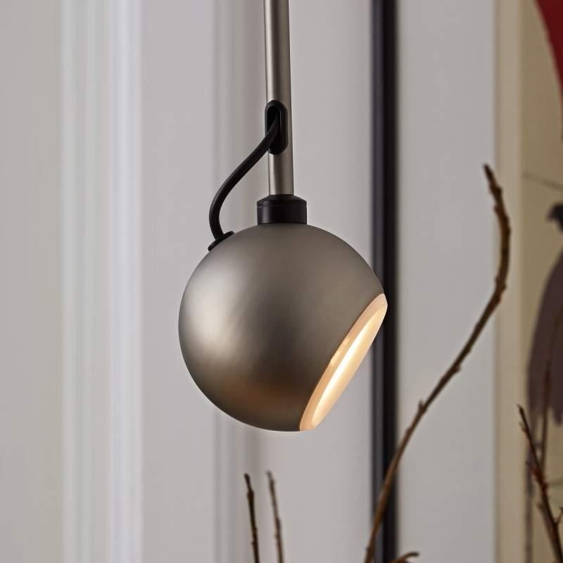 Energiebesparende pendellamp Globe, staalkleurig