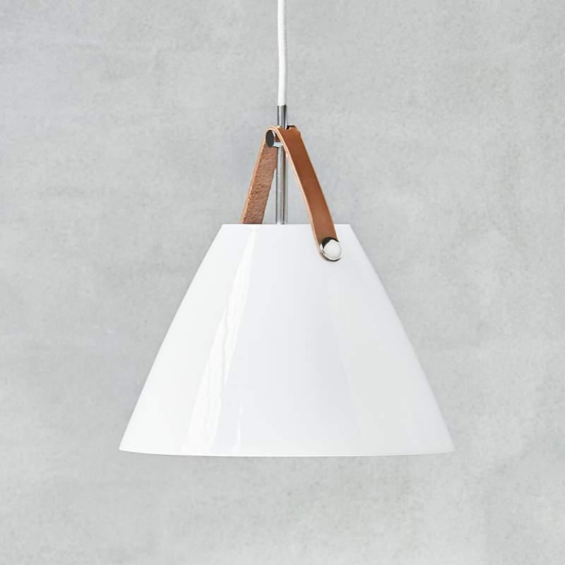LED glazen hanglamp Strap 27 m. leren ophanging